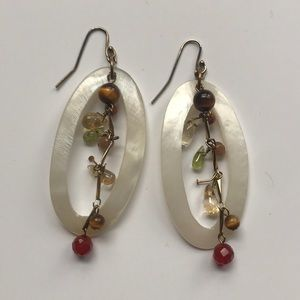 White pearlescent and bead earrings